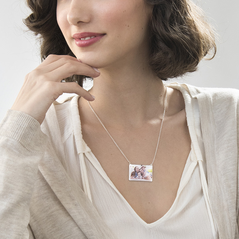 Rechteckige Foto-Halskette mit Gravur - 2