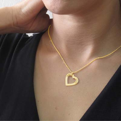 750er Vergoldete  Herzkette mit Gravur - 2