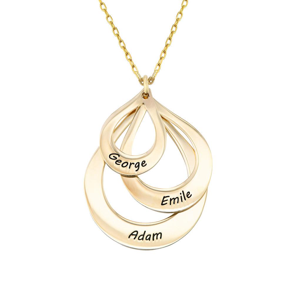 Tropfenförmige Familienkette mit Gravur aus 417er-Gold - 1