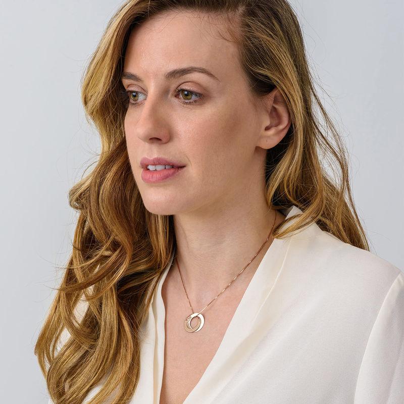 Russische Ring Halskette mit zwei Ringen - rosévergoldet - 4