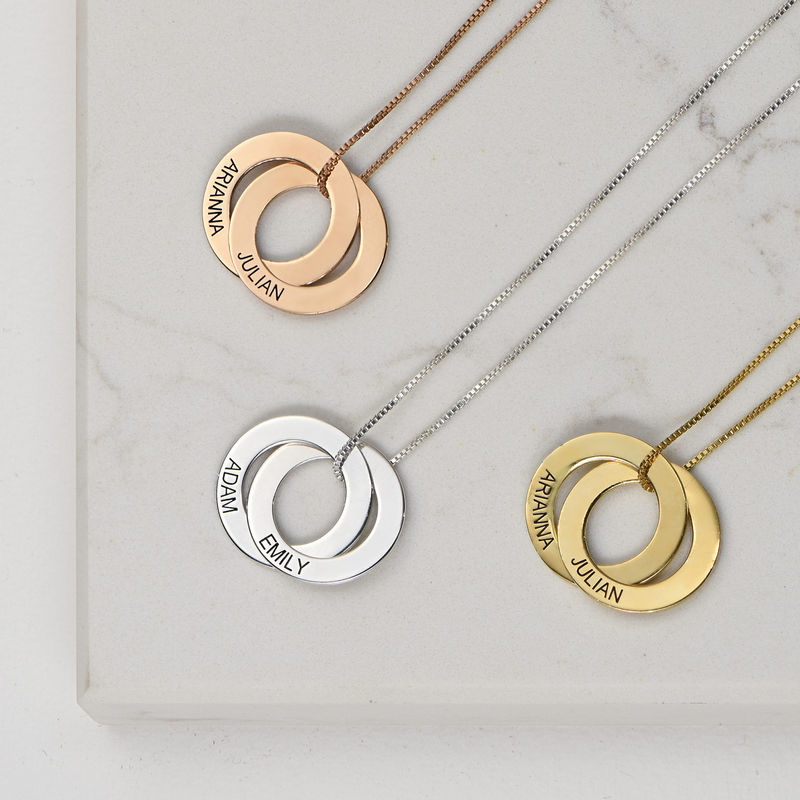 Kette mit zwei russischen Ringen aus Gold-Vermeil - 2