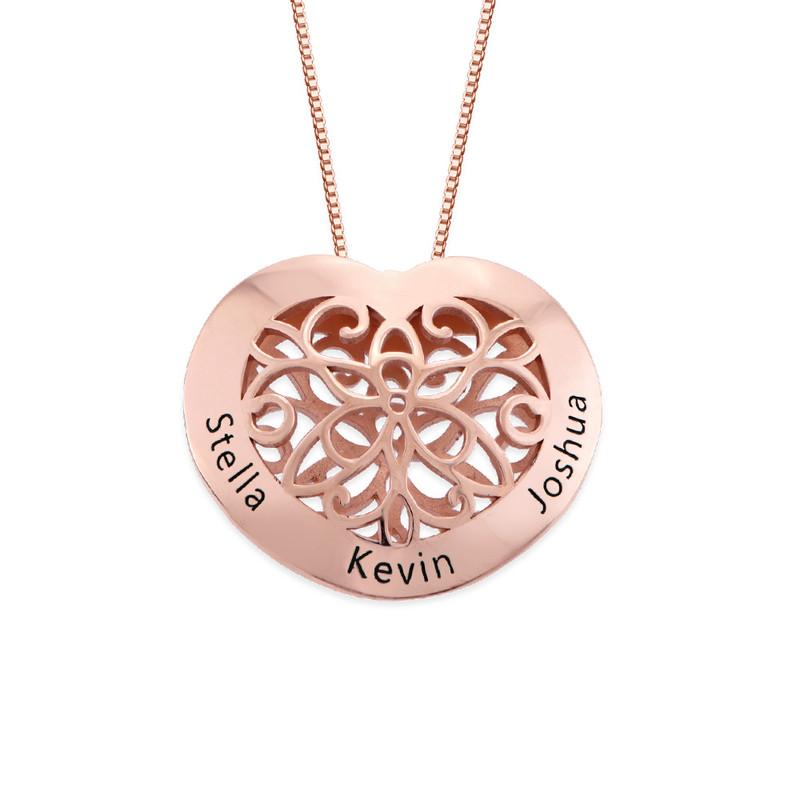 Herzkette mit Gravur und Rosévergoldung