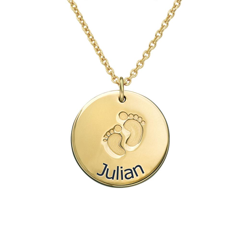 Vergoldete Halskette für Mama mit Babyfußabdruck und Wunschgravur
