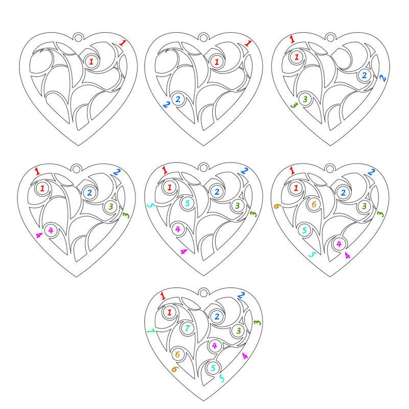 Gravierte Stammbaumkette mit Herz und Geburtssteinen aus Sterlingsilber - 6