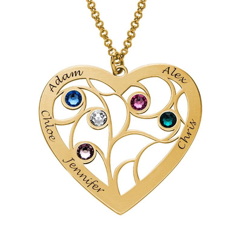 Gravierte Stammbaumkette mit Herz und Geburtssteinen mit Vergoldung