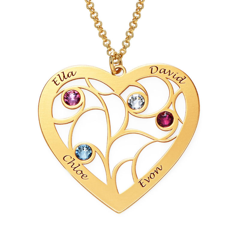 Herz-Lebensbaum-Kette mit Geburtsstein in Gold-Vermeil