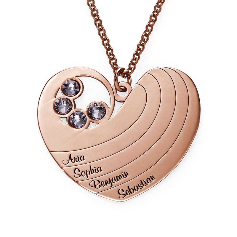 Kette für Mama mit Herz und Geburtssteinen mit Rosévergoldung - 1