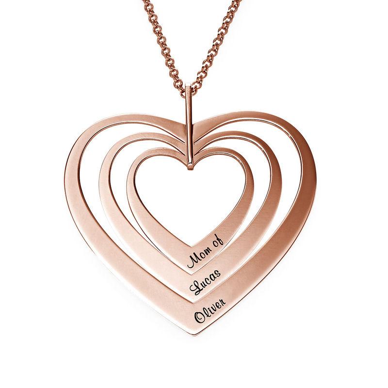 Familienkette mit Herz mit Rosévergoldung - 1