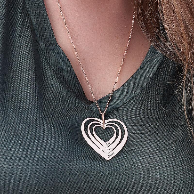 Familienkette mit Herz mit Rosévergoldung - 5