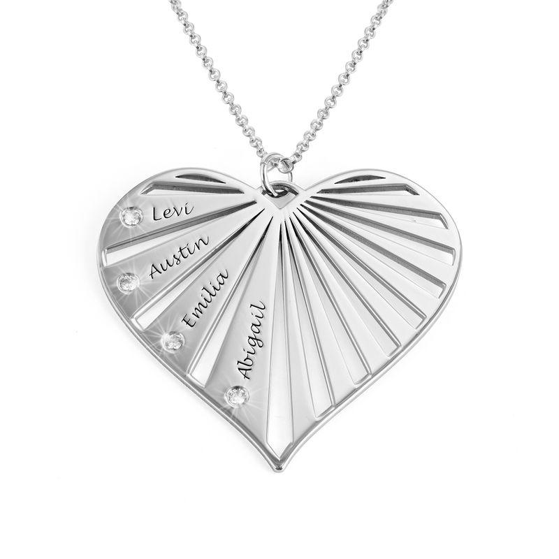 Familienkette mit Diamanten aus Sterlingsilber
