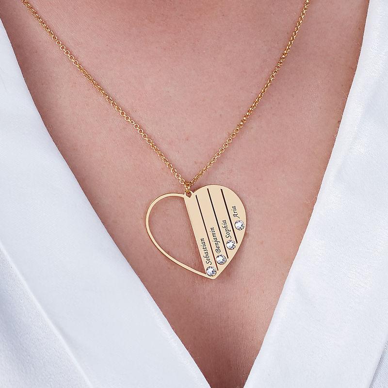 Geburtsstein-Halskette in Gold-Vermeil für Mutter - 5