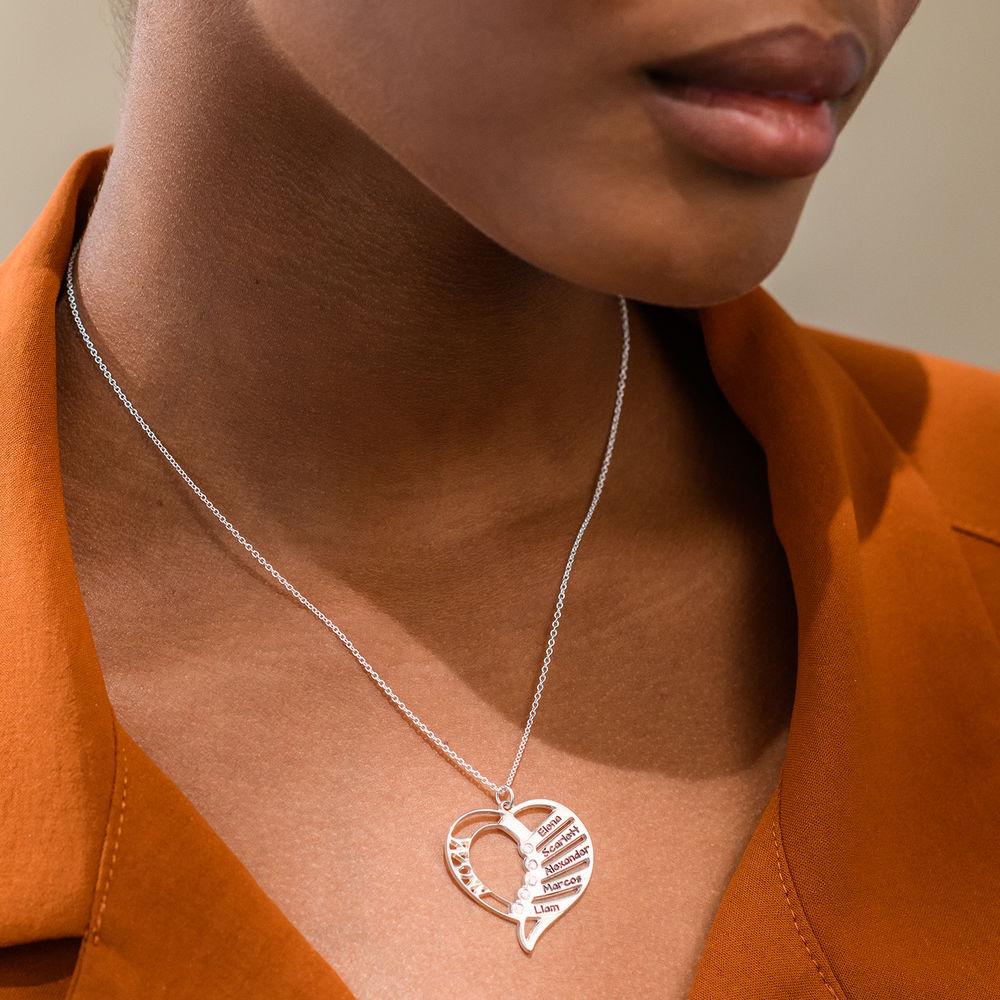 Gravierbare Geburtsstein Halskette für Mütter aus Sterlingsilber mit Diamant - 1