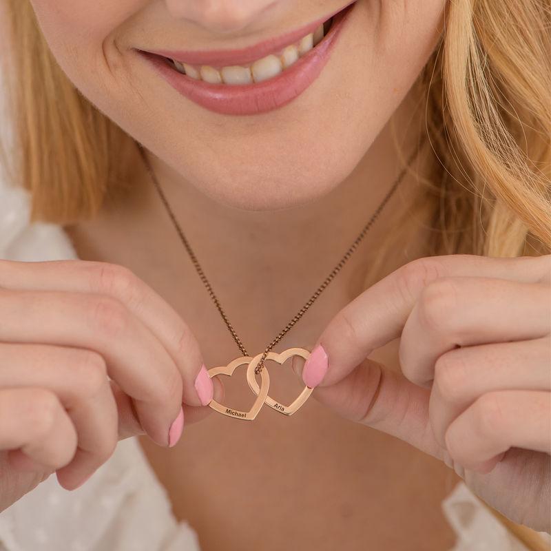 Verschlungene Herzkette mit 750er Rosévergoldung - 3