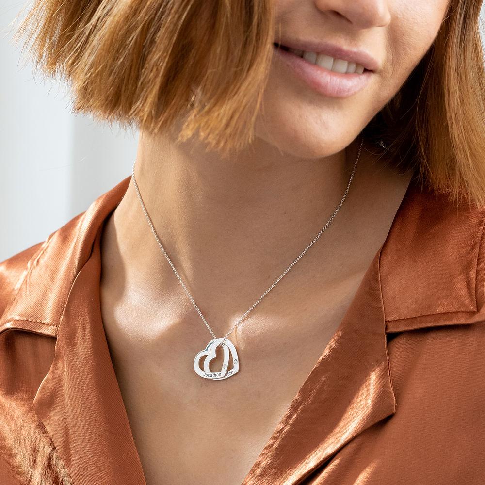 Verschlungene Herzkette aus Sterlingsilber mit Diamant - 2