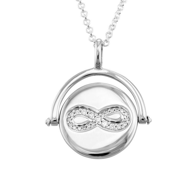 Kette mit kreiselndem Infinity-Anhänger aus Silber