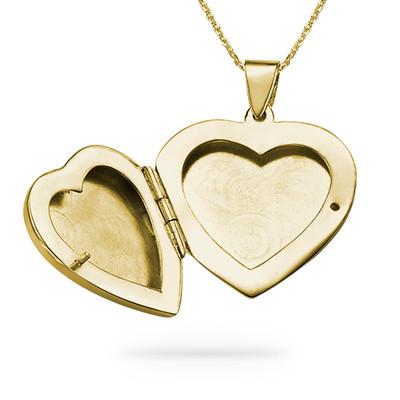 Graviertes Herz Medaillon aus 750er vergoldetem 925er Silber - 1