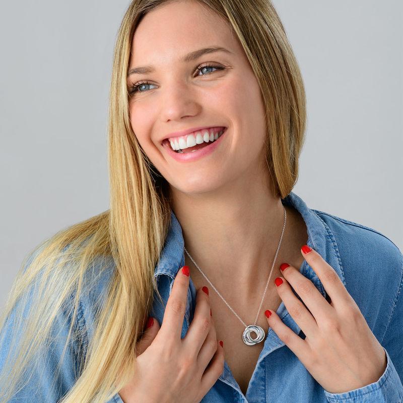 Silberne Halskette für Mama mit russischen Ringen – verbessertes 3D-Design - 3
