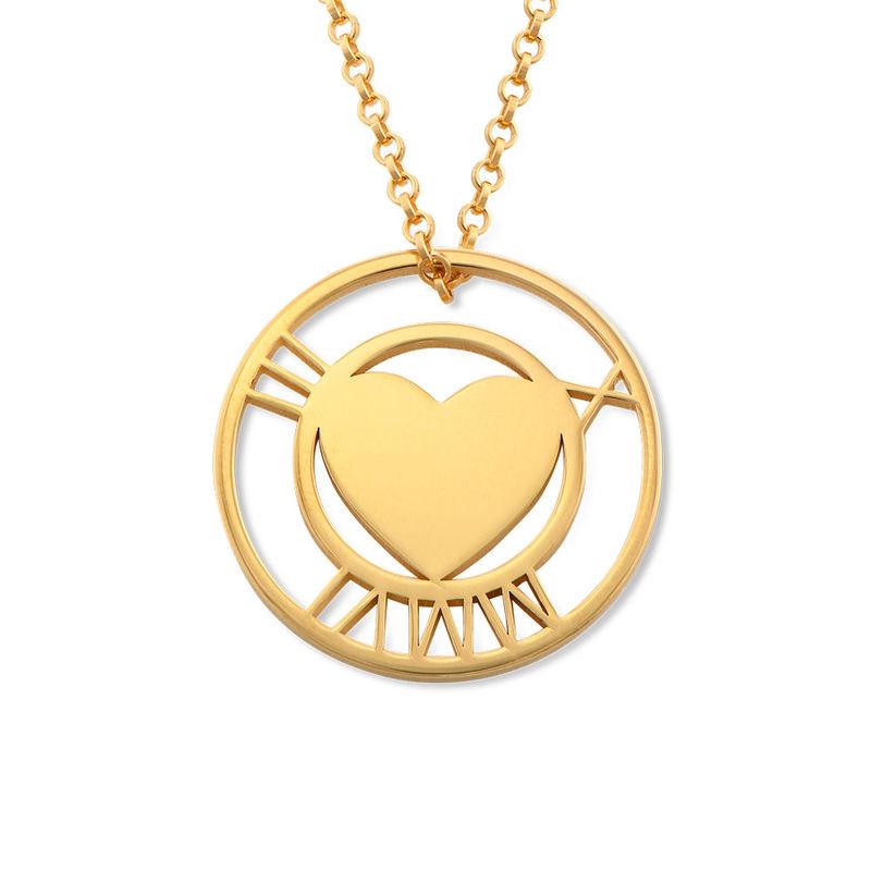 Vergoldete Herzkette mit rundem Plättchen und römischen Ziffern