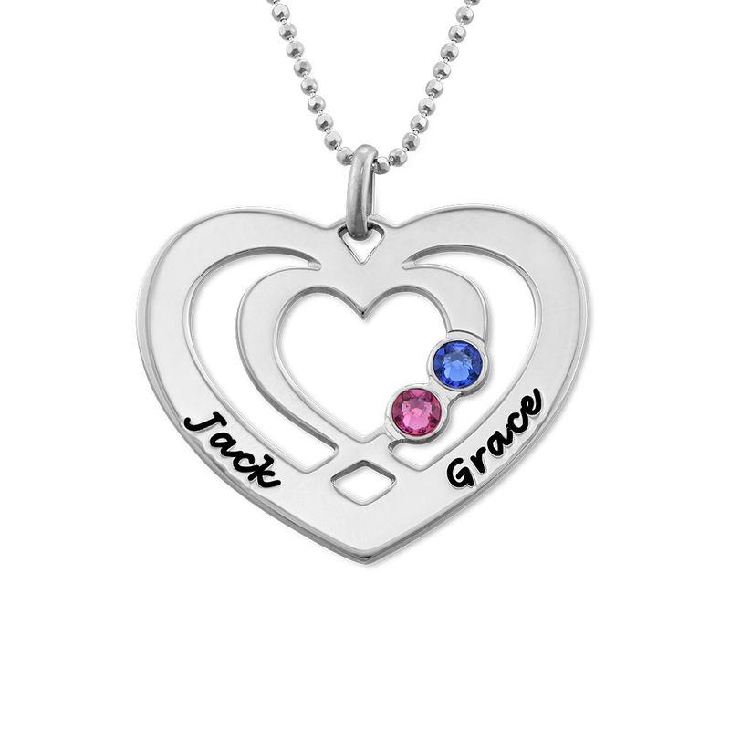 Herz-Kette mit Gravur aus Silber mit Geburtssteinen