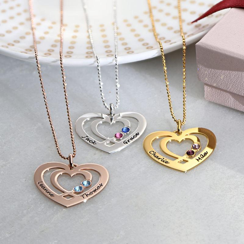 Herz-Kette mit Gravur aus Silber mit Geburtssteinen - 1