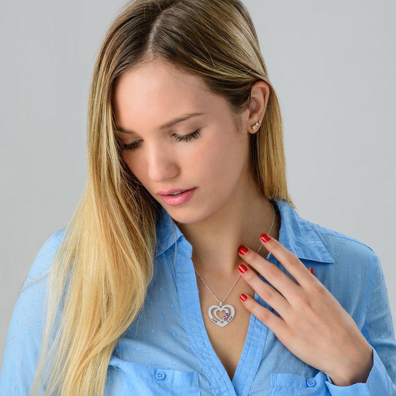 Herz-Kette mit Gravur aus Silber mit Geburtssteinen - 2