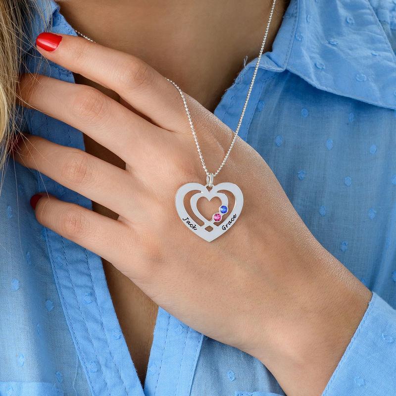 Herz-Kette mit Gravur aus Silber mit Geburtssteinen - 3