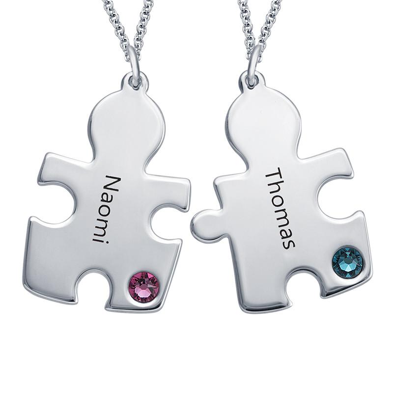 Puzzle-Halskette mit Geburtssteinen aus Sterling Silber