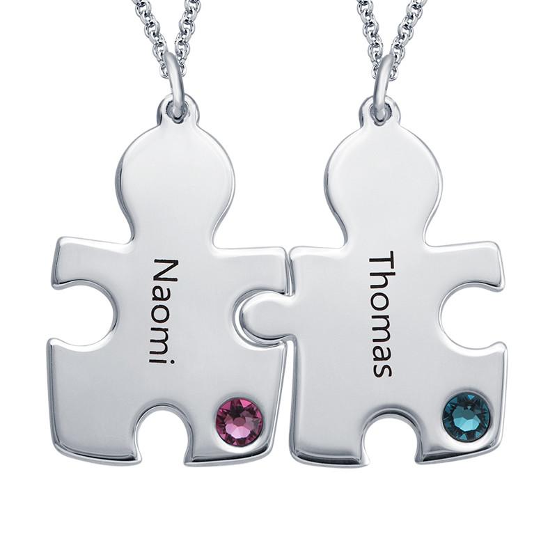 Puzzle-Halskette mit Geburtssteinen aus Sterling Silber - 1