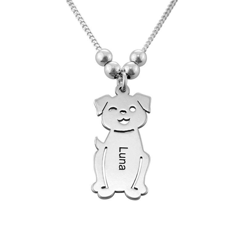 Mutterkette mit graviertem Kind-, Katzen- und Hunde-Anhänger in Silber - 3