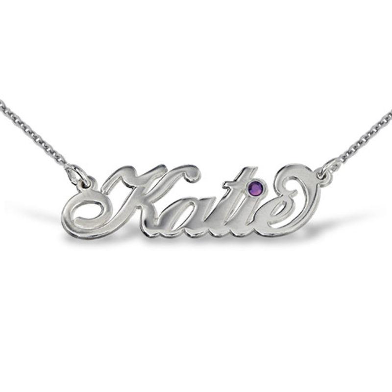 """Silber """"Carrie"""" Namenskette mit Swarovski Kristall"""