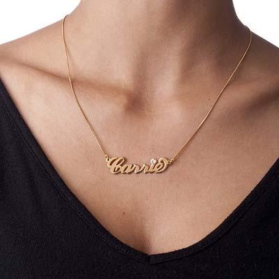"""750er vergoldete Silber """"Carrie"""" Nameskette mit Geburtsstein - 1"""
