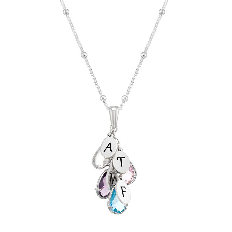 Personalisierte Geburtsstein-Tropfenkette für Mütter in Silber