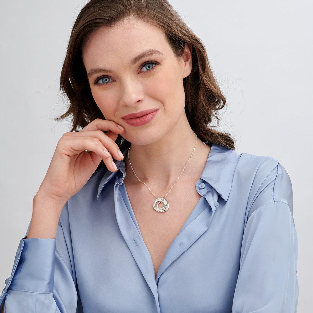 Halskette aus Sterlingsilber mit 4 russischen Ringen und Gravur - 1