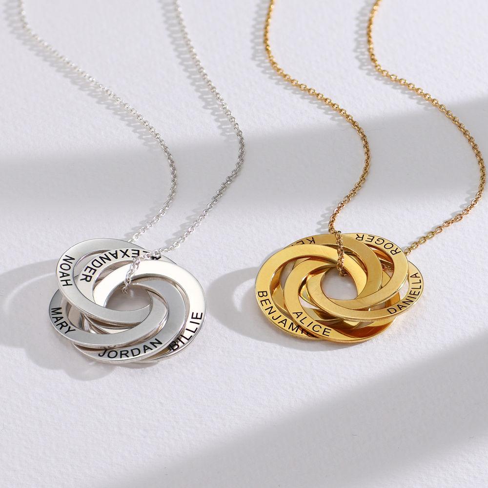 Halskette aus Sterlingsilber mit 5 russischen Ringen und Gravur - 1