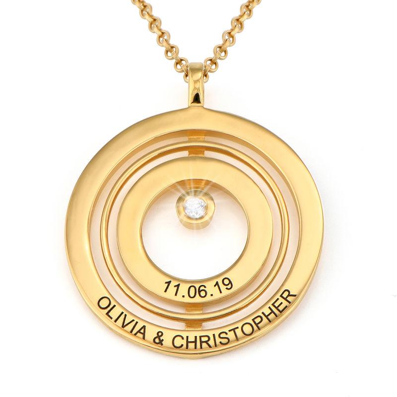 Gold-beschichtete Lebenskreis-Kette mit Gravur und Diamant