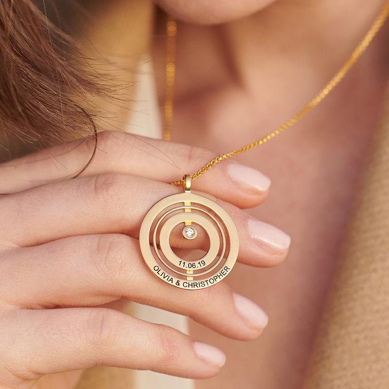 Gold-beschichtete Lebenskreis-Kette mit Gravur und Diamant - 3