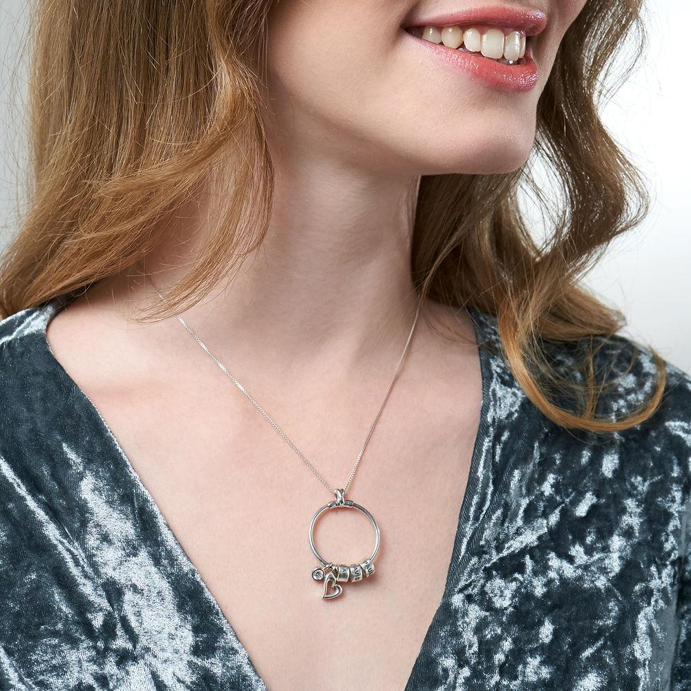Kreisanhänger-Kette mit Blatt und personalisierten Beads™ aus Sterlingsilber mit Diamant - 4