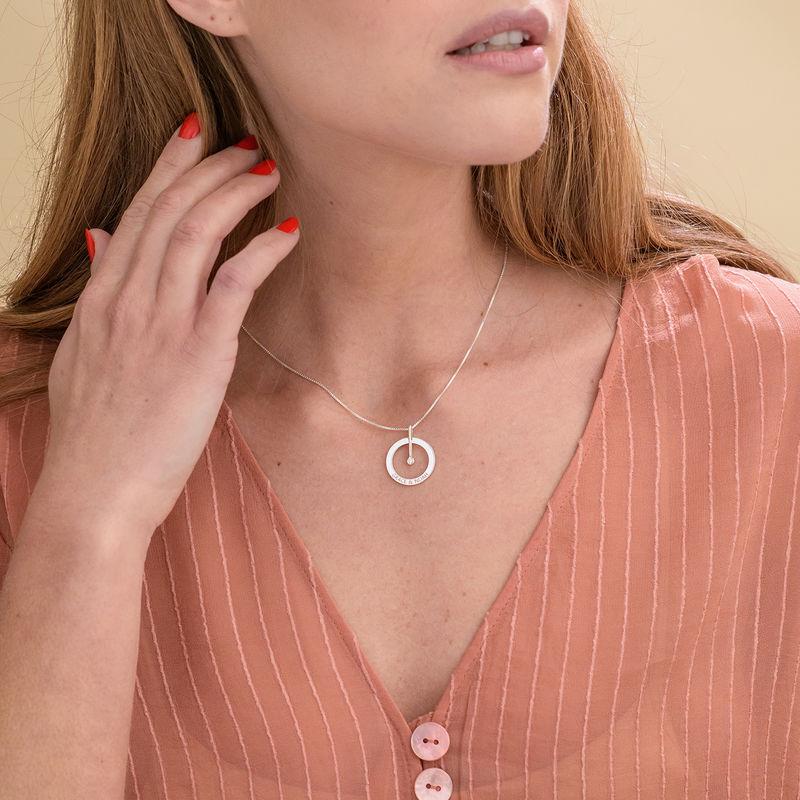 Personalisierte Kreis Halskette mit Diamant aus 925er Silber - 2
