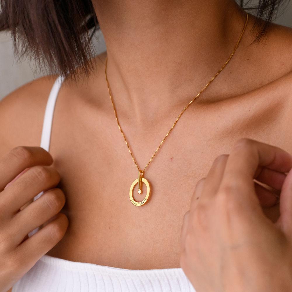 Vergoldete personalisierte Kreis Halskette mit Diamant - 3