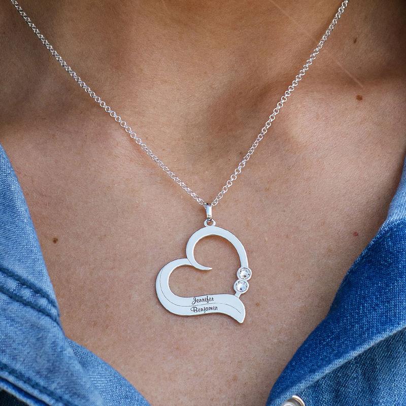 Geburtsstein-Herzkette mit gravierten Namen - 2