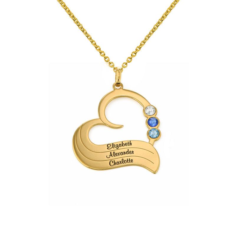Vergoldete Geburtsstein-Herzkette mit gravierten Namen