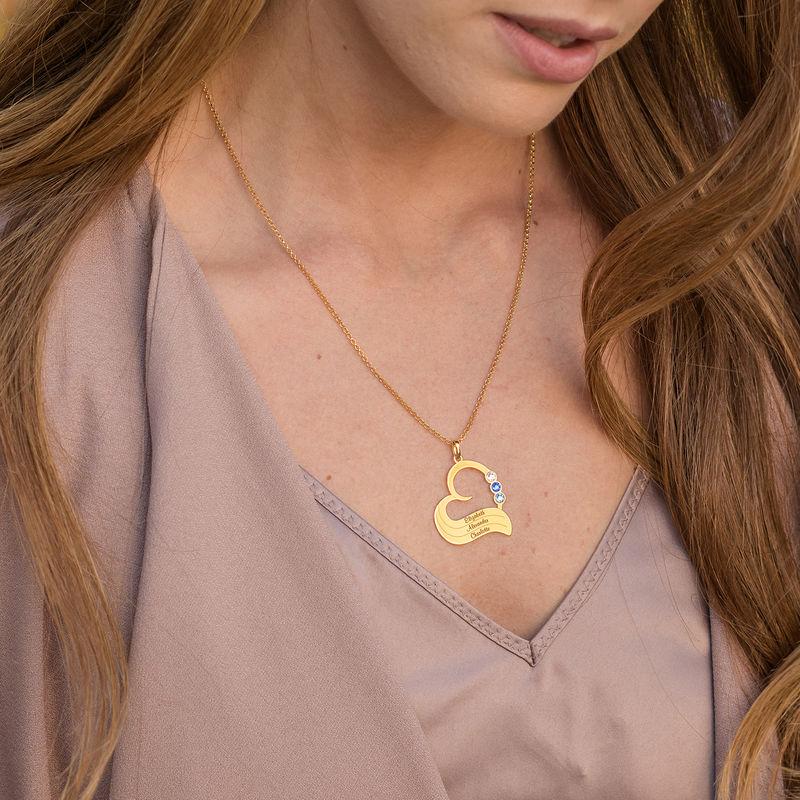 Vergoldete Geburtsstein-Herzkette mit gravierten Namen - 1
