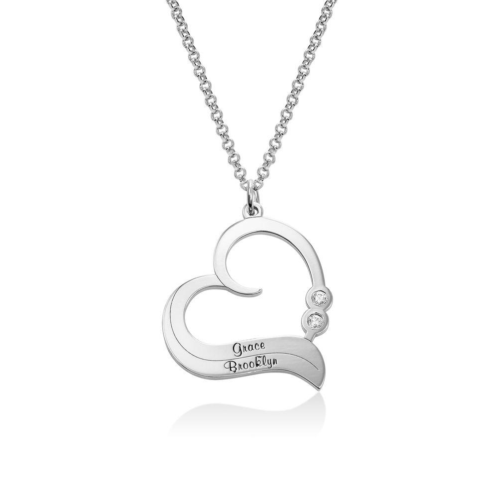 Sterling Silber Herzkette mit gravierten Namen und mit Diamant