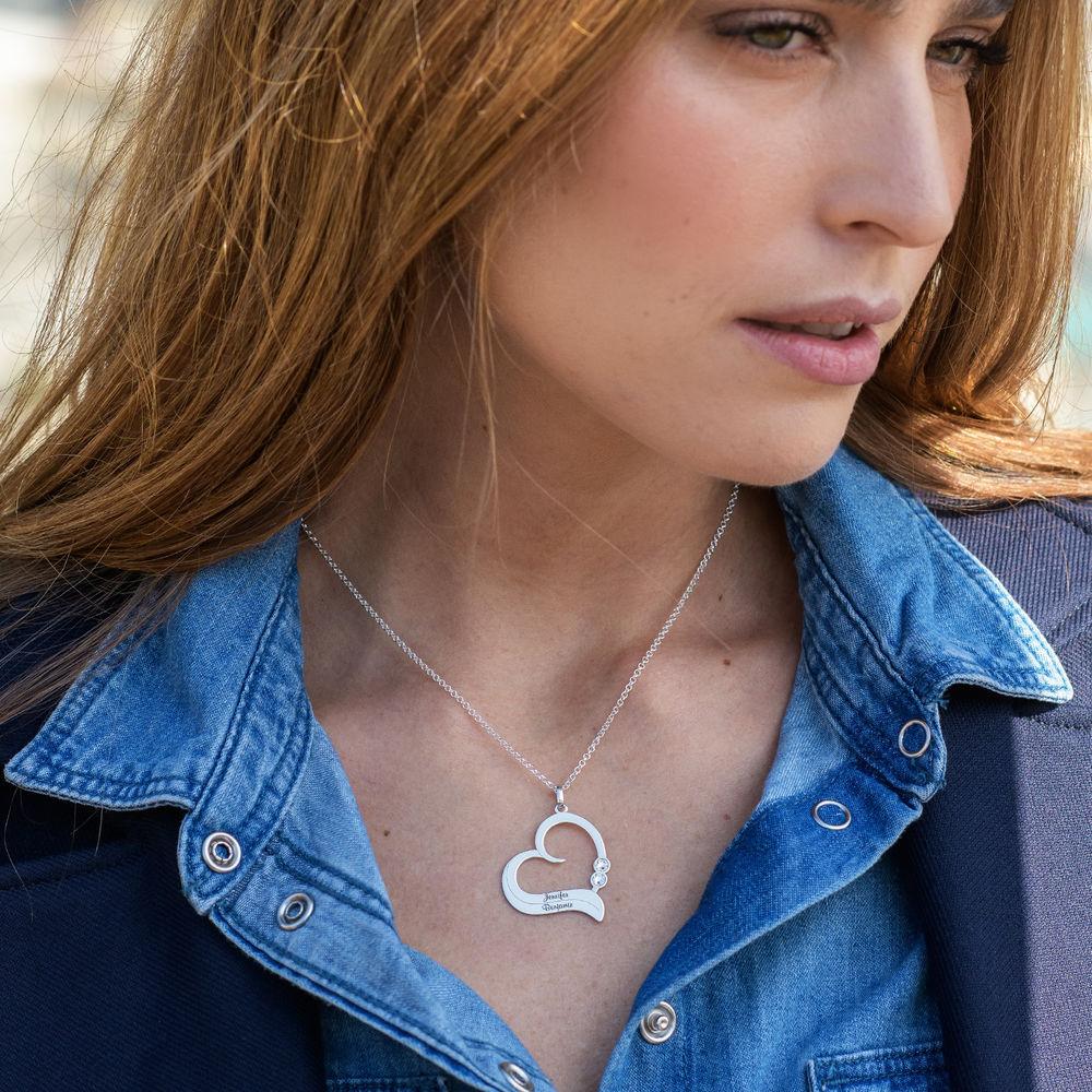 Sterling Silber Herzkette mit gravierten Namen und mit Diamant - 1