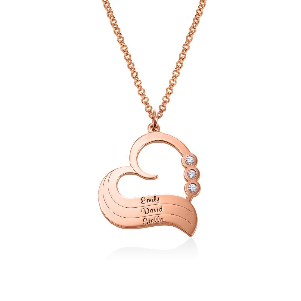 Rose Vergoldete Herzkette mit gravierten Namen und mit Diamant