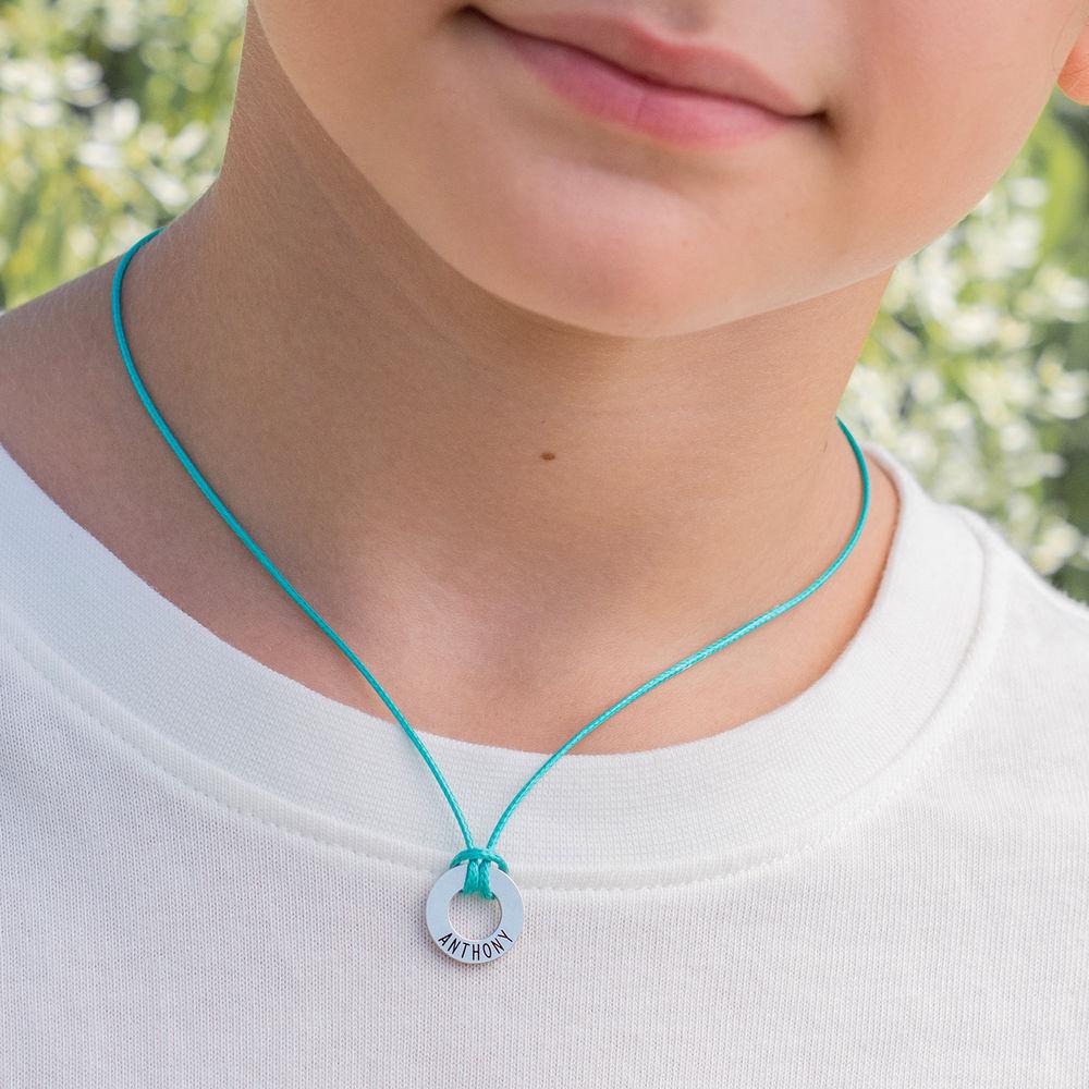 ID Wax Cord Halskette in Sterling Silber für Jungen - 4