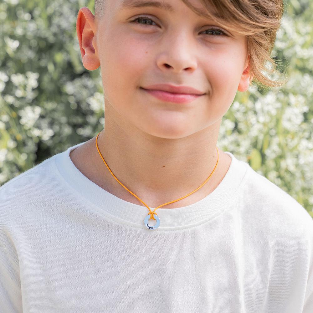 ID Wax Cord Halskette in Sterling Silber für Jungen - 5