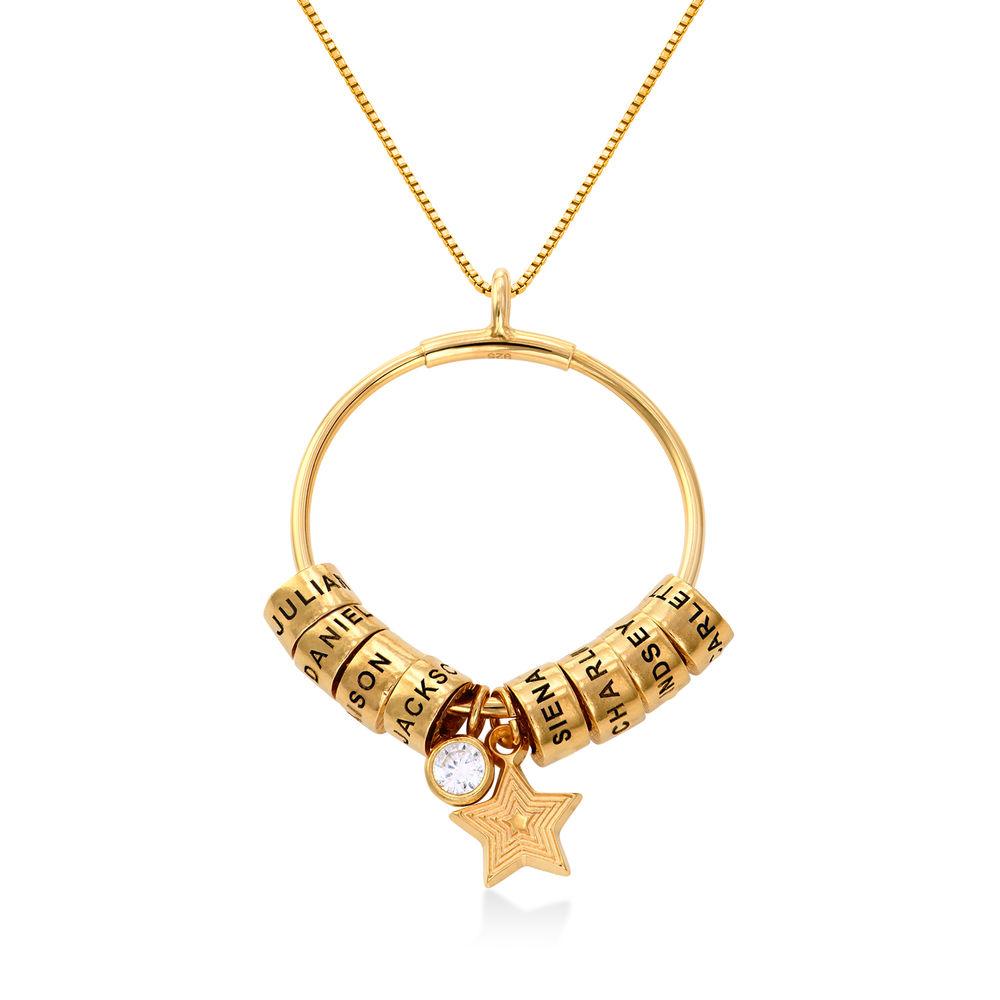 Großer Kreis Linda Anhängerkette mit Stern und personalisierten Perlen ™ in 750er-Gold-Beschichtung