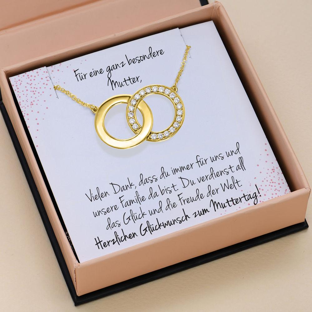 Perfektes Paket - Zirkonia-Halskette mit Geschenkbox und vorgedruckter Geschenknotiz aus 750er vergoldetes 925er Silber