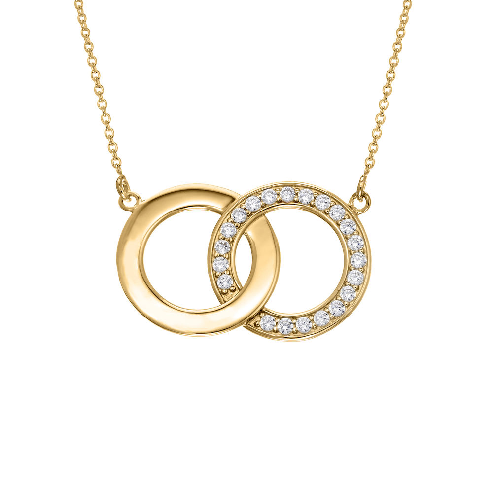 Perfektes Paket - Zirkonia-Halskette mit Geschenkbox und vorgedruckter Geschenknotiz aus 750er vergoldetes 925er Silber - 1